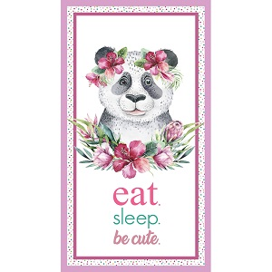 The Devonstone Collection Tropical Zoo Panda Eat Sleep Be Cute Panel