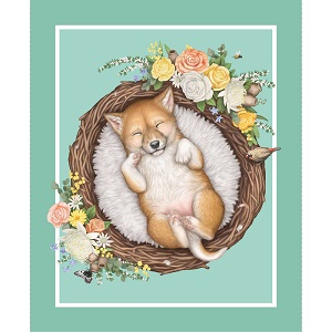The Devonstone Collection Native Nursery Panel Dingo Cub in Green