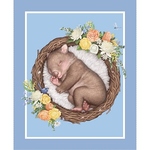 The Devonstone Collection Native Nursery Panel Wombat in Blue
