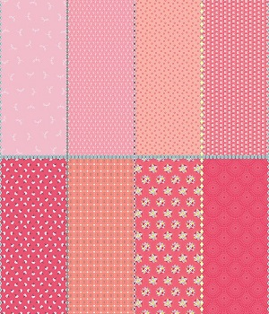Riley Blake Designs Paper Daisies Fat Eighth Panel in Pink