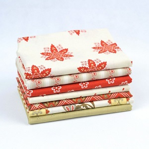 Riley Blake Designs - French Courtyard Fat Quarter Bundle 7 pieces in Red