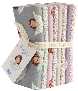 Tilda Old Rose Seasonal Extras Angel Scraps and Sophie Co-ordinates Fat Quarter Bundle of 8 fabrics