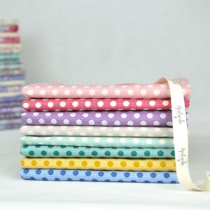 Tilda Old Rose Medium Dot Co-ordinates - Fat Quarter Bundle of 8 fabrics