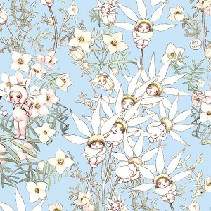 May Gibbs Flannel Flower Babies Blue *** PRE-ORDER - ARRIVING JUNE ***