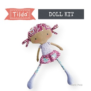 Tilda - Bird Pond - Rag Doll in Maroon Fabric Only Kit