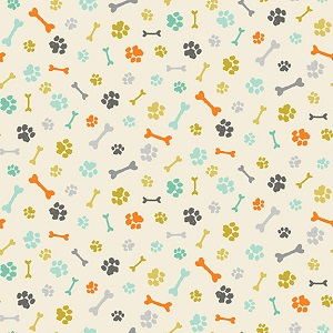 Makower UK A Walk In The Park Bones and Paws in Cream