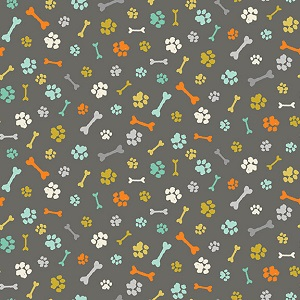 Makower UK A Walk In The Park Bones and Paws in Grey