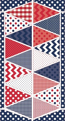 Riley Blake Designs - Bunting Panel in Red White and Blue