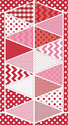 Riley Blake Designs - Bunting Panel in Pink and Red