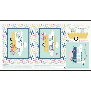 Riley Blake Designs - I'd Rather Be Glamping Panel in Blue