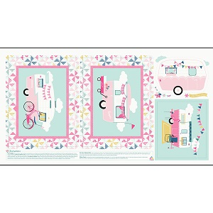 Riley Blake Designs - I'd Rather Be Glamping Panel in Pink
