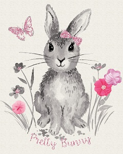 Riley Blake Designs - Pretty Bunnies and Flowers Bunnies Panel in Off White