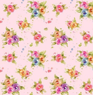 P and B Textiles Little Darlings Floral in Pink *** REMNANT PIECE 29CM X 112CM ***