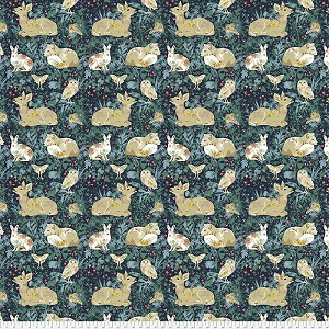 Freespirit Fabrics Land Art Mini Enchanted Forest in Navy