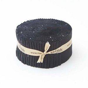 Riley Blake Designs - Confetti Cottons Solids in Riley Black - 2.5 Inch Rolie Polie 40 Pieces