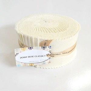 Penny Rose Fabrics - Tone on Tone Daisy in Cream - 2.5 Inch Rolie Polie 40 Pieces