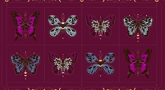 Ruby Star Society Tigerfly Gossamer Panel in Purple Velvet with Metallic Accents