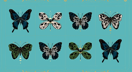 Ruby Star Society Tigerfly Gossamer Panel in Turquoise with Metallic Accents