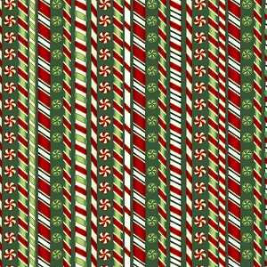 Christmas Hoffman Fabrics Candy Cane Stripe in Hunter with Metallic Accents