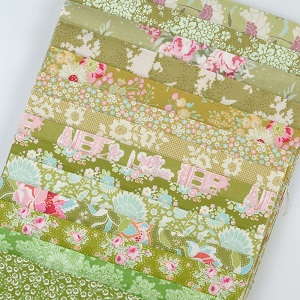 Fabric Scrap Bag - Tilda in Green Shades