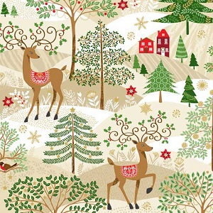 Makower UK - Silent Night - Scenic Deer in Forest with Gold Metallics
