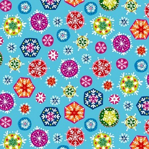 Andover Fabrics - Joyeux Snowflakes in Light Blue