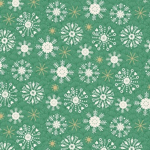 Makower UK Merry Snowflake in Green