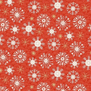 Makower UK Merry Snowflake in Red