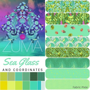 Tula Pink - Zuma - Fat Quarter Bundle of 21 Pieces in Sea Glass