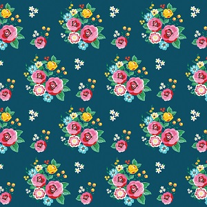 Riley Blake Designs - Happiness is Handmade Floral in Navy