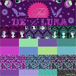 Freespirit Fabrics - De La Luna by Tula Pink by Tula Pink - ONE Metre Bundle of 18 Pieces