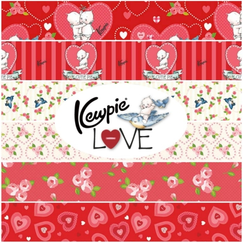 Riley Blake Designs - Kewpie Love 1 Yard Bundle Bundle 6 Pieces in Red