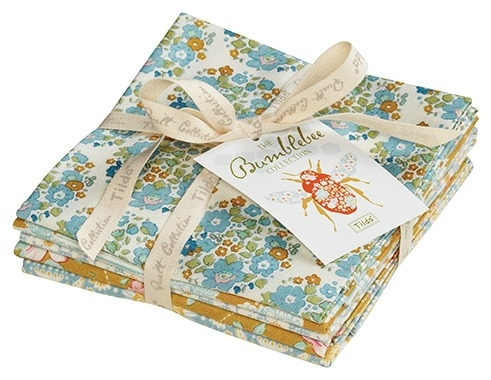 Tilda - Bumblebee - Fat Quarter Bundle of 5 Pieces in Blue Shades