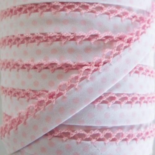 Picot Edge Bias Binding Trim - Baby Pink Spot on White