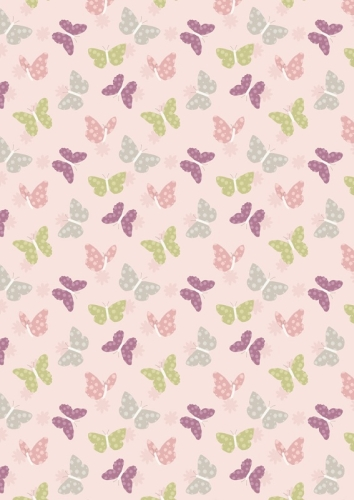 Lewis and Irene - Bunny Garden - Butterflies on Pink