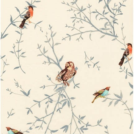 Robert Kaufman - Woodland Clearing Cotton Lawn Ivory Birds