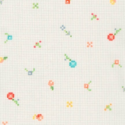 Robert Kaufman - Woodland Clearing Cotton Lawn Pixel Flower Ivory