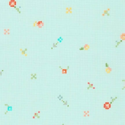 Robert Kaufman - Woodland Clearing Cotton Lawn Pixel Flower Turquoise