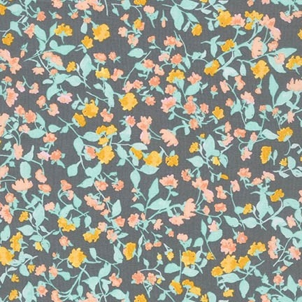 Robert Kaufman - Woodland Clearing Cotton Lawn Watercolour Floral Grey