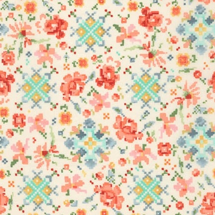 Robert Kaufman - Woodland Clearing Cotton Lawn Pixel Floral Ivory