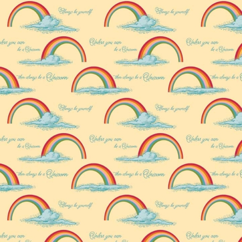 Riley Blake Designs - Unicorns and Rainbows Poster in Yellow