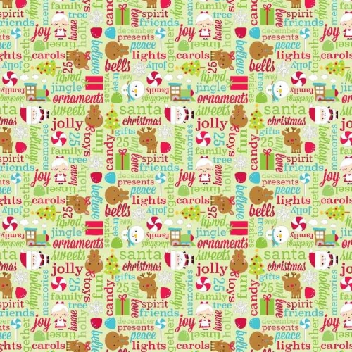 Riley Blake Designs - Santa Express Greetings in Green