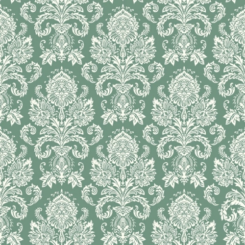 Riley Blake Designs - Postcards for Santa - Damask in Green