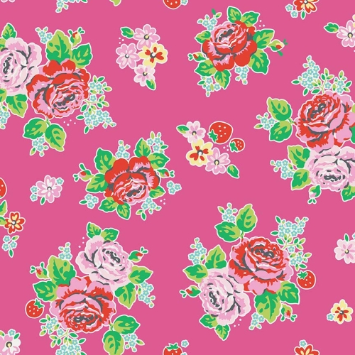 Penny Rose Fabrics - Strawberry Biscuit Main Floral in Hot Pink