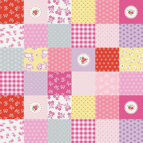 Penny Rose Fabrics - Strawberry Biscuit Cheater Patchwork in Pink
