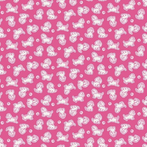 Penny Rose Fabrics - Strawberry Biscuit Poodle in Hot Pink