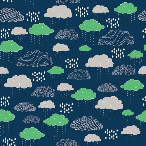 Riley Blake Designs - Greatest Adventure - Clouds in Navy