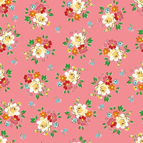 Riley Blake Designs - Backyard Roses - Main Pink