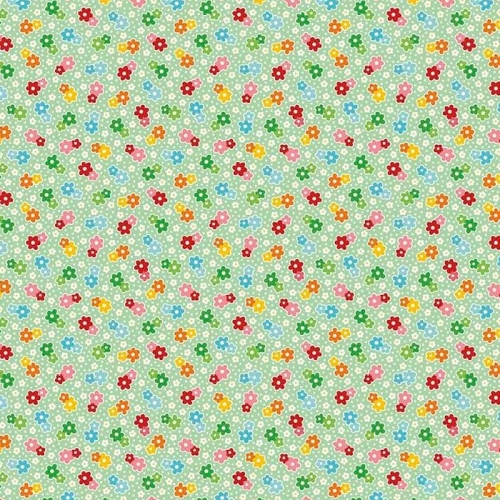 Riley Blake Designs - Backyard Roses - Floral Mint