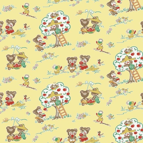 Penny Rose Fabrics - Apple Farm by Elea Lutz - Apple Main Yellow *** REMNANT PIECE 59CM X 112CM ***